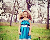 Charlotte Dress and matching headband, Teal, Flower Girl, Birthday Dress, Forever Grace, Lace