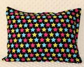 Toddler/Travel Envelope Pillowcase Colorful Stars Pink Yellow Blue Black