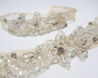 Garter Set - Wedding Garter Set, Champagne Garters, Bridal garter set, prom garter, wedding garters