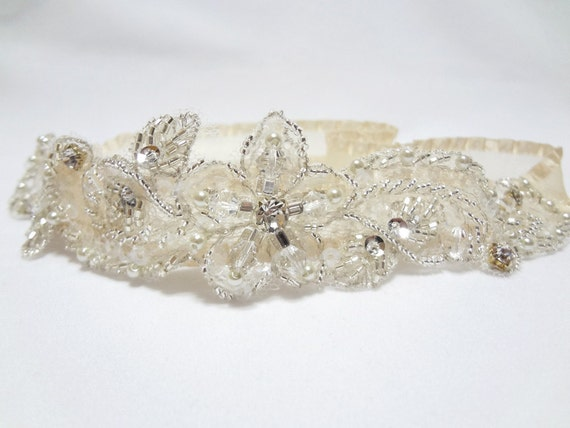 Wedding Gater, wedding bridal garter, prom garter, glittering champagne garter, gater