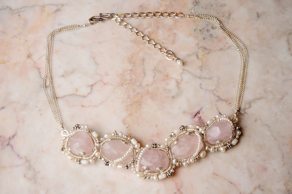Fashionable Bib Necklace in Silver w/ Pale Rose Quartz, White Pearl & Mother of Pearl