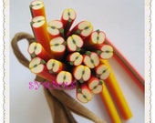 A-01 Cute  Apple Polymer Clay Cane Nail Art Decoration 5pcs