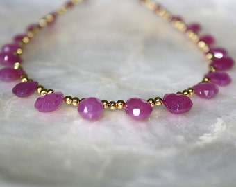 Ruby and gold princess necklace, ruby teardrops and gold necklace