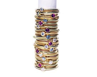 Diamant et 18 k or anneau, anneau d'empilement or, bague Solitaire en diamant, bague de fiançailles fini de mat
