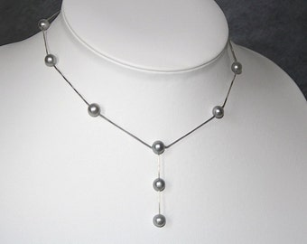 Grey freshwater pearls floating on a sterling silver chain, Pearl station necklace