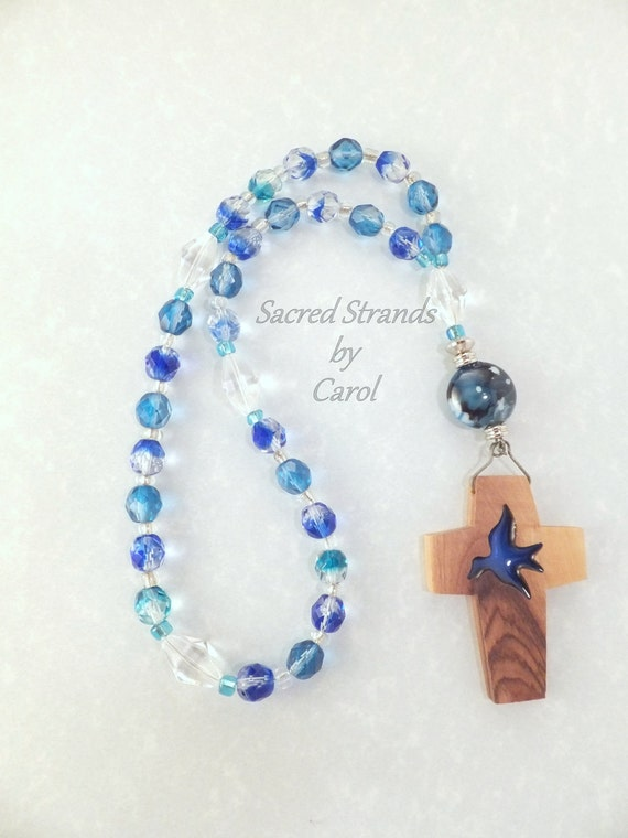 Anglican Prayer Beads - Wooden Cross from the Holy Land