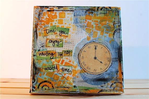 SALE Mixed Media Original Canvas Art - 6x6 Time Clock