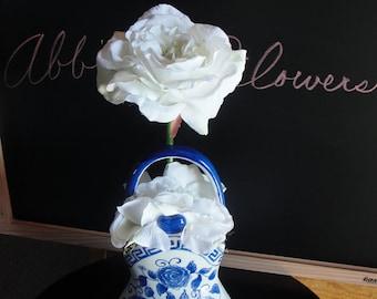 White, Silk Cabbage Roses in Blue & White Basket Vase
