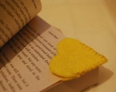 Yellow Heart Felt Bookmark