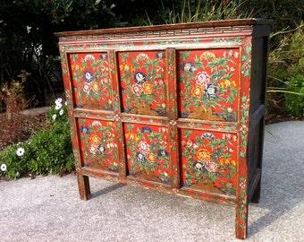 19th C. Original Paint Tibetan Cabinet