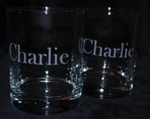 Custom Etched Double Old Fashioned - Rock Glasses - Personalized (Set of 2)