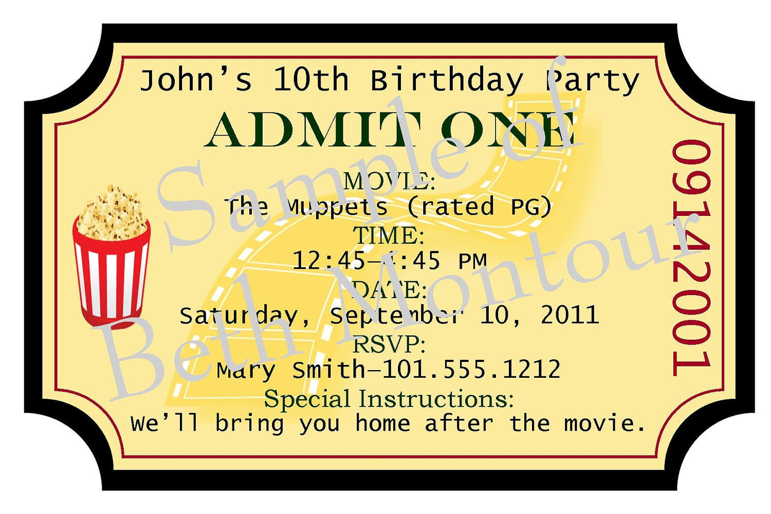 Movie Ticket Movie ticket invitation