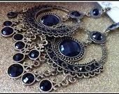 Black Charm - Chandelier Earrings