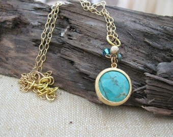 Gold, Turquoise, Charm Necklace