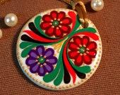 Handpainted  Porcelain Necklace Hungarian Motifs Circle