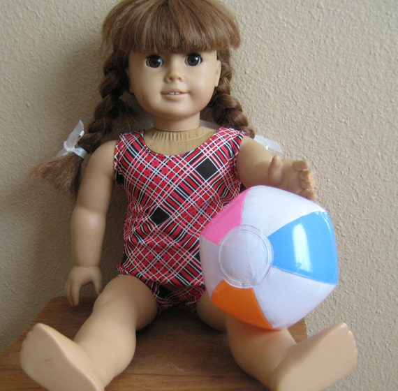 18 inch Doll Clothes American Girl -  Plaid Mailot Bathing Suit with inflatable Beach Ball
