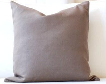 Hemp Linen Taupe Cushion Pillow Cover, Linen Pillow Cover.  Modern linen throw pillow cushion cover.
