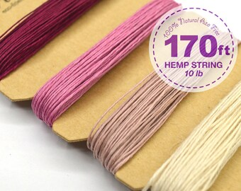 Hemp Cord, Shades of Ruby, 0.5 mm, 10lb, Bead Cord, Hemp Thread, Colored Hemp Twine