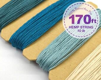 Hemp Cord, Shades of Aqua, 0.5 mm, 10lb, Bead Cord, Hemp Thread, Colored Hemp Twine