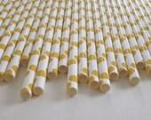 25 Sunflower Yellow Polka Dot Paper Straws