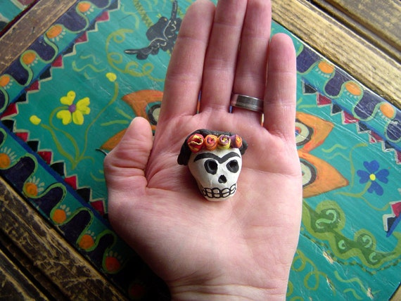 ON SALE Day of the Dead (Dia de los Muertos) Frida Kahlo skull