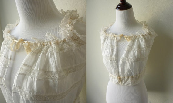 SALE Antique Victorian Camisole, Vintage White Blouse from the 1800s