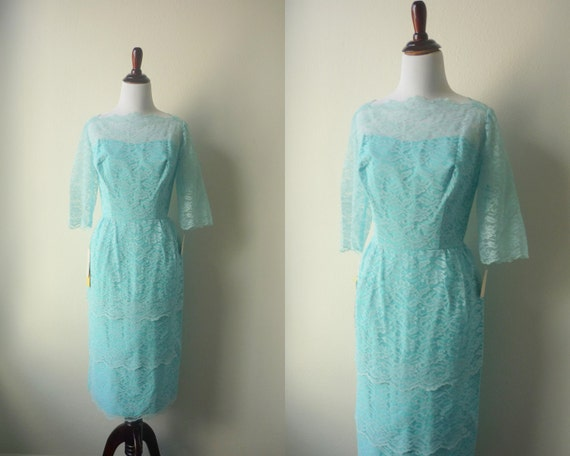 60s Party Dress, Vintage Sylvia Ann Blue Lace Wiggle Dress, New Old Stock