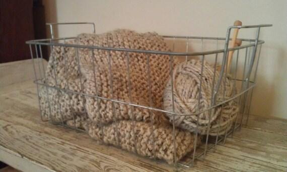 Vintage Wire Basket Locker Basket Galvanized Industrial Storage