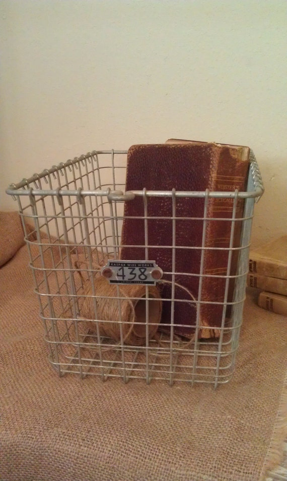 Vintage Locker Basket Metal Bin