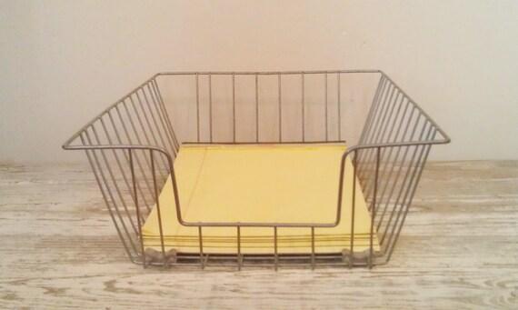 Vintage Wire File Basket Office Bin Mail Tray