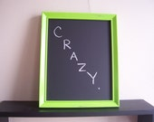 Upcycled Chalkboard Memo Board with Distressed Lime Green Frame