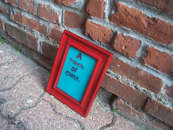 Teal Dry Erase Message Board with Red Frame