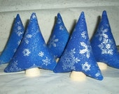 Miniature Forest 5 Colorful Tiny Christmas tree plush toys, Blue fabric with silver snowflakes
