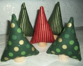 Miniature Forest 5 Colorful Tiny Christmas tree plush toys. Green red and gold stripes and Green and gold polka dots