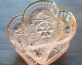 Pink Glass Heart Dishes (Set of 3)