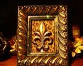 Swarovski Crystal Embellished Ornate Frame with Fleur De Lis Centerpiece