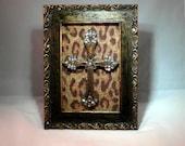 Gold distressed Swarovski Crystal Embellished Frame with Bronze Cross