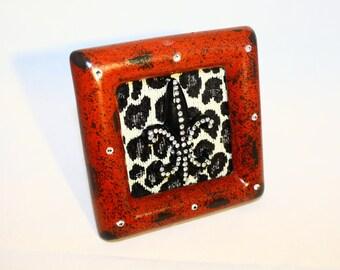 Red Distressed Swarovski Crystal Embellished Frame with Fleur de lis