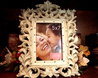 Creme Ornate Frame Embellished with Swarovski Crystals