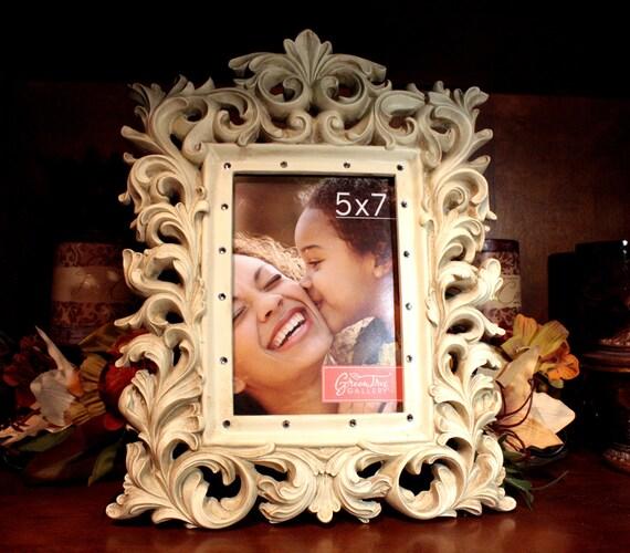 Creme Ornate Frame Embellished with Swarovski Crystals