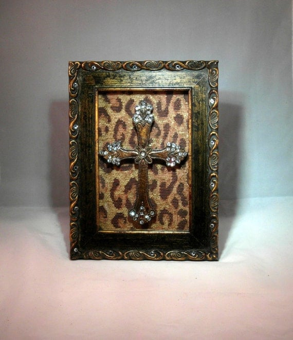 Gold distressed Swarovski Crystal Embellished Frame with Bronze Cross
