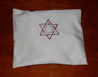 Handmade tallit bag with Star of David embroidery, custom made talit bag, silk talit bag, Tallit bag, Talis bag, Talit bag,