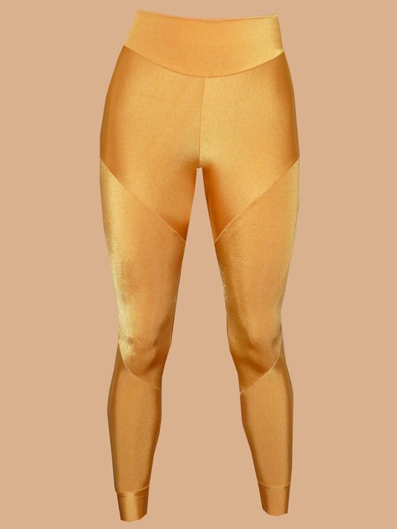 Custom Gold super stretch abstract design leggings. Original Design, made to flatter and fit.