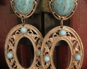 Turquoise Cabochon 1980s Large Chandelier Vintage Earrings