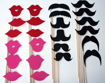 Mustache and Lips On a Stick - 24 Piece Set - Photo Booth Props