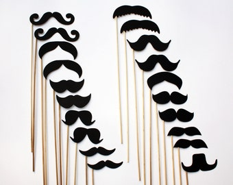 Mustache on a Stick - 20 Piece Set - Photo Booth Props