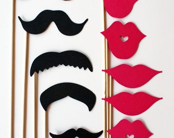 Mustache and Lips On a Stick - 10 Piece Set - Photo Booth Props