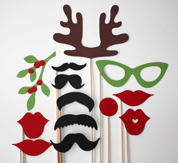 Photo Booth Props - 13 Piece - Christmas Party