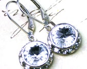 Swarovski Rivoli Crystal and Rhinestone Bezel Earrings in Crystal Clear - Handmade with Swarovski Crystal and Sterling Silver- FREE SHIPPING