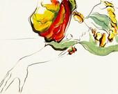"Contemporary Art, Fashion Drawing Giclee Print--SECRETS, 8"" x 10"", beautiful vibrant colors"